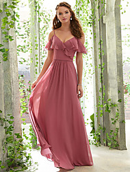 cheap -A-Line Spaghetti Strap Floor Length Chiffon Bridesmaid Dress with Ruffles / Ruching / Open Back