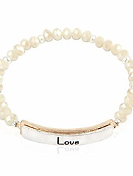 cheap -inspiration engraved bar sparkly crystal bead bracelet - religious christian message stretch strand cuff bangle lord, amazing grace, philippians bible (two-tone bar - love ivory)