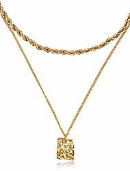 cheap -gold choker rope chain necklace for women 4mm, fashion geometric pandent 2 layered necklaces for teen girls gift, 18k gold plated