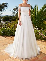 cheap -A-Line Wedding Dresses Off Shoulder Floor Length Chiffon Short Sleeve Simple Beach with 2020