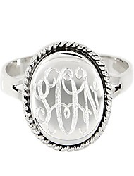cheap -sterling silver polished signet oxidized rope edge oval ring with engraving (8.5)