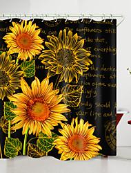 cheap -Sunflower English Digital Printing Shower Curtain Shower Curtains  Hooks Modern Polyester New Design 72 Inch