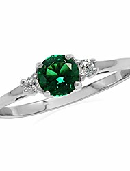 cheap -petite green nano emerald and white cubic zirconia 925 sterling silver promise ring size 4.5