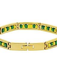 "cheap -stainless steel orula bracelet green yellow beads babalawo amulet protection 9"""
