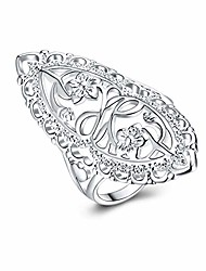cheap -925 sterling silver statement ring vintage hollow long celtic knot daisy flower floral filigree band rings (10)