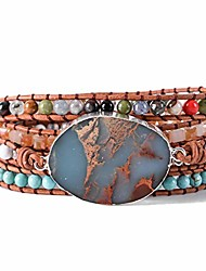 cheap -boho beaded 5 wrap bracelets cuff bracelets agate stone wrap bracelets druzy natural stone leather wrap bracelet