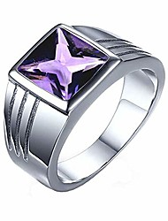 cheap -natural amethyst silver ring for men square shape astrology birthstone jewelry in size 10