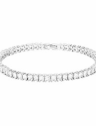 cheap -14k gold plated cubic zirconia classic tennis bracelet | white gold bracelets for women | 3mm cz, 7.5 inches