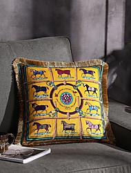 cheap -Double Side Trend Brand Light luxury velvet tassel d Printing Pillow Case Cover Living room Bedroom Sofa Cushion cover