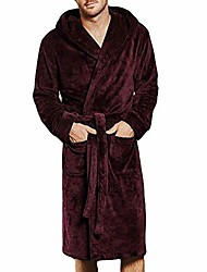 cheap -men's winter lengthened coralline plush shawl bathrobe long sleeved robe coat dressing gown wine