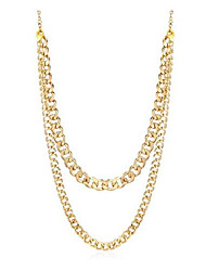 cheap -women's heavy metal chunky chain necklace linked costume sweater jewelry accessories (gold web chain)