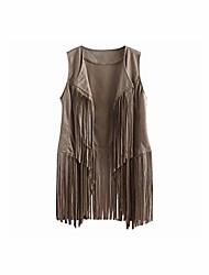 cheap -women vest coat suede ethnic sleeveless tassels fringed cardigan vest women winter coat,beige,l,china