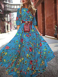 cheap -Women's Swing Dress Maxi long Dress - 3/4 Length Sleeve Print Patchwork Print Summer Elegant Going out vacation dresses Puff Sleeve Chiffon Slim 2020 White Blue Green S M L XL XXL