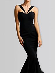 cheap -Mermaid / Trumpet Halter Neck Maxi Stretch Satin Bridesmaid Dress with Ruching