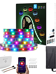 cheap -RGBIC Wi-Fi Bluetooth LED Smart Light Strip Kit 5M 10M Tiktok Cloud Wall Outdoor Waterproof 16 Million Colors 5050 SMD LED Strip with APP Voice Wi-fi Controller and Adapter IP67 Dream-color DC12V