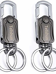 cheap -2 pcs car key chains heavy duty keychain metal carabiner clip holder organizer for car/key finder 360 degree rotation gyro toy keyring key chain bottle opener with 2 rings for men and women