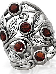 cheap -2.16ct. natural garnet 925 sterling silver filigree leaf ring size 8.5