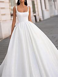 cheap -A-Line Wedding Dresses Scoop Neck Floor Length Satin Sleeveless Simple with Pleats 2021