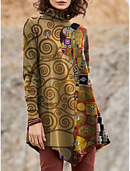 cheap -Women's T Shirt Dress Tee Dress Short Mini Dress Purple Khaki Green Brown Long Sleeve Print Color Block Patchwork Print Fall Winter Turtleneck Casual 2021 S M L XL XXL 3XL 4XL 5XL