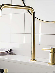 cheap -Bathroom Sink Faucet - Black / Chrome / Brushed Gold / Rose Gold Finish Single Handle Dual Holes Basin Sink Mixer Tap Washroom Faucet Modern Luxury