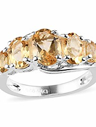 cheap -925 sterling silver oval yellow citrine 5 stone statement ring fashion jewelry for women size 8 1.5 cttw