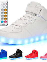 cheap -Boys' Girls' Sneakers LED Shoes USB Charging Luminous Fiber Optic Shoes Leather Remote Control Lace up Little Kids(4-7ys) Big Kids(7years +) Daily Walking Shoes LED White Black Red Fall Winter