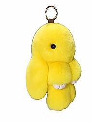cheap -bunny keychain cute rex rabbit faux fur keychain car handbag keyring 5.5in,yellow