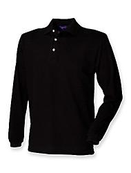 cheap -long sleeve classic pique polo shirt : color - black : size - xl
