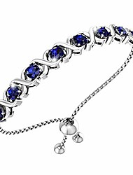 cheap -womens classic beautiful 925 sterling silver sparkling gemstone adjustable xo bolo tennis bracelet bangle fine wrist jewelry fashion accessory, 4.2 carat created blue sapphire, 11 inch