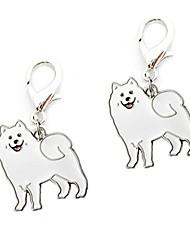 cheap -key ring, 2 pcs cute pet dogs shape mini metal key rings keychains holders keyring portable key chain for men women girls boys (samoyed)
