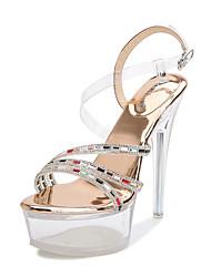 cheap -Women's Dance Shoes Pole Dancing Shoes Heel Slim High Heel Gold Silver Buckle Adults'