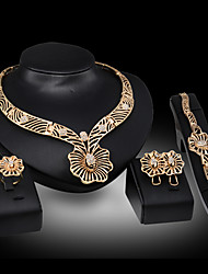 cheap -Women's Jewelry Set Bridal Jewelry Sets Cut Out Flower Fashion Gold Plated Earrings Jewelry Gold For Christmas Wedding Halloween Party Evening Gift 1 set