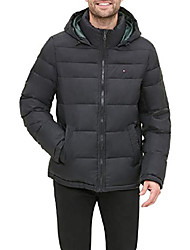 cheap -men's classic hooded puffer jacket (regular and big & tall sizes) down alternative outerwear coat, pearlized black, s