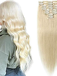 cheap -18 inch  clip in hair extensions real human hair 100% remy [#60 platinum blonde] 8 pcs full head normal weft hair pieces for women straight (70g)