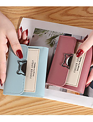 cheap -Women's Bags PU Leather Wallet Buttons Embossed Print Patchwork 2021 Daily Date Black Red Blushing Pink Light Purple
