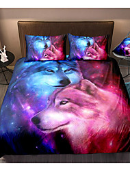 cheap -3D Wolf Print 3-Piece Duvet Cover Set Hotel Bedding Sets Comforter Cover with Soft Lightweight Microfiber For Holiday Decoration(Include 1 Duvet Cover and 1or 2 Pillowcases)