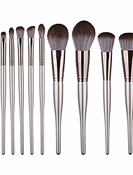 cheap -makeup brush set 10 pcs chubby belly wooden handle brush soft durable foundation blending face powder blush concealers eye cosmetics make up brush kits for beginners and professional essential (b)