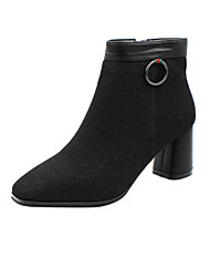 cheap -Women's Boots Chunky Heel Square Toe Booties Ankle Boots Minimalism Daily Walking Shoes PU Solid Colored Almond Black / Booties / Ankle Boots
