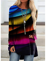 cheap -Women's Rainbow Women's Hoodies Long Sleeve Sweater Cardigans Crew Neck Fall Winter Purple Green