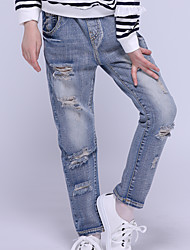 cheap -Kids Girls' Basic Streetwear Solid Colored Hole Jeans Blue