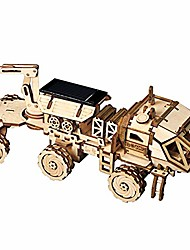 cheap -solar powered stem toys - laser cutting diy robot car model building kits - 3d wooden jigsaw puzzle age 14 3d puzzles adults (carry rover)
