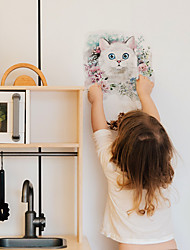 cheap -Cartoon White Cat Pattern Children Imitation Decoration Self-adhesive Wall Stickers Pvc Waterproof Removable Stickers