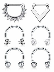 cheap -septum clicker rings 16g surgical steel nose hoop rings body piercing jewelry with clear cz women men horseshoe barbell daith helix tragus lip cartilage earrings …
