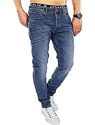 cheap -herren slim fit jeans denim used look (29w / 30l, blau (dark blue denim))
