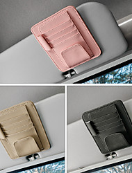 cheap -DeRanFu Car Sun Visor Organizer PU Leather Multifunctional Storage Glasses Clip Multi function Storage Bag Folder Card CD Pouch Holder 3 Colors To Choice