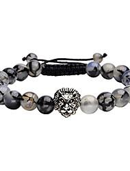cheap -8mm handmade lion head macrame adjustable dragon stone gemstone beaded bracelet,unisex