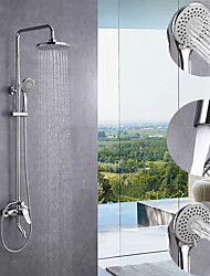 cheap -200 * 200 Chrome Shower Faucet Sets Complete with ABS  Handshower Mount Outside Multi Spray Shower Head System
