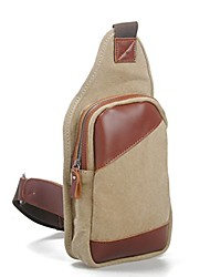 cheap -unisex 100% genuine leather and canvas handmade vintage style outdoor sports chest pack bag pouch with adjustable shoulder strap (khaki)