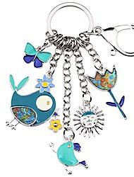cheap -bonsny enamel zinc alloy birds flower butterfly key chains keyrings for women handbag car key charms (blue)