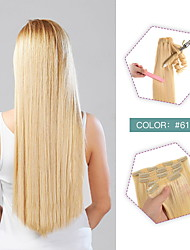 cheap -Clip In Clip In / On Hair Extensions Remy Human Hair 10pcs Pack Straight Natural Hair Extensions